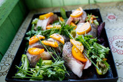 Raw fish on the pan. Raw fish with vegetables and herbs on the pan stock photography