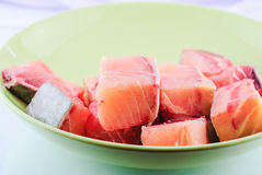 Raw fish in plate Royalty Free Stock Images