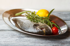 Raw fish on a plate. Stock Image