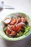 Raw Fish Poke Bowl. From a food truck in tropical Oahu Hawaii featuring ahi tuna over rice Royalty Free Stock Photography