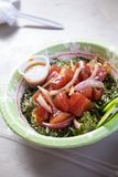 Raw Fish Poke Bowl. From a food truck in tropical Oahu Hawaii featuring ahi tuna over rice Stock Image