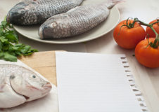 Raw fish recipe Stock Photo