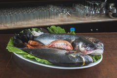 Raw fish in restaurant Royalty Free Stock Photography