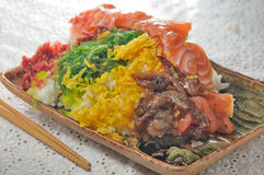 Raw fish rice Royalty Free Stock Images