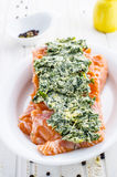 Raw fish salmon. With herb butter and lemon Stock Photography