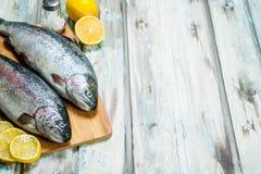 Raw fish salmon with lemon stock photos