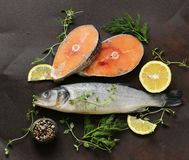 Raw fish sea bass and salmon. With lemon and herbs Royalty Free Stock Photos