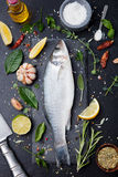 Raw fish, sea bass on slate black board Top view. Raw fish, sea bass on slate black board. Ingredients for cooking, grill, roasting. Top view Copy space Royalty Free Stock Photos