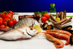 RAW FISH SELECTION WITH VEGETABLES Royalty Free Stock Photo