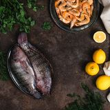 Raw fish, shrimp, herbs and lemons on dark table top Royalty Free Stock Photo