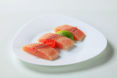 Raw fish skewer Stock Photos