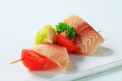 Raw fish skewer Royalty Free Stock Photography