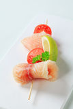 Raw fish skewer Stock Photos