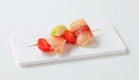 Raw fish skewer Royalty Free Stock Image