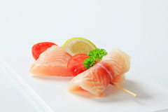 Raw fish skewer Stock Photography