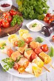 Raw fish skewer Stock Photo