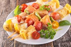 Raw fish skewer Stock Images