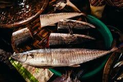 Raw fish sliced and cut at street market Royalty Free Stock Photo