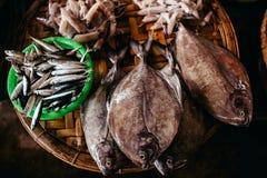 Raw fish sliced and cut at street market Stock Photos