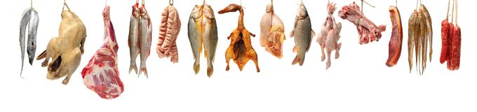 Raw fish,spare ribs and raw hen raw materials. Isolated on white background royalty free stock photo