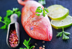 Raw fish. With spice on black board Stock Photo
