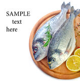 Raw fish. With spice on board Royalty Free Stock Image