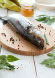 Raw fish and spices on a cutting board, perch. Closeup Royalty Free Stock Images