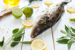 Raw fish and spices on a wooden surface Royalty Free Stock Image
