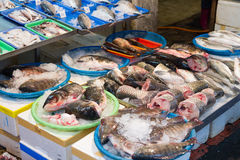 Raw fish at traditional market in Taiwan Stock Photo