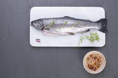 Raw fish. Trout on a white stone board. Gray background. Free space for text. Copy space. Raw fish. Trout on a white stone board. Gray background. Free space Stock Photos