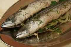 Raw fish tucked onions Royalty Free Stock Photo