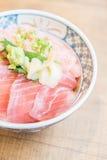 Raw fish tuna meat in rice bowl Stock Photo