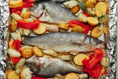 Raw fish and vegetables on the baking tray Royalty Free Stock Photos