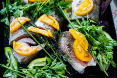 Raw fish with vegetables and herbs on the pan. Raw fish on the pan stock images