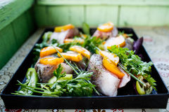 Raw fish with vegetables and herbs on the pan. Raw fish on the pan stock photos