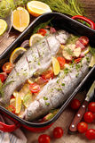 Raw fish with vegetables in a pan ready to bake.  Stock Image