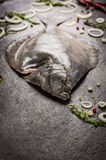 Raw flounder fish with spices on dark background Royalty Free Stock Photo