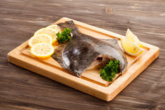 Raw flounder fish Royalty Free Stock Photography
