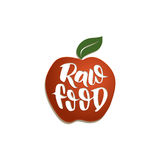 Raw food color. Raw food. Red apple with hand drawn lettering stock illustration