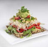 Raw food - cracker with good toppings. Raw Cracker with good and healthy raw toppings Royalty Free Stock Photo