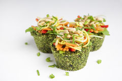 Raw food - cupcakes. Spinach cupcakes filled with delicious raw ingredients Stock Image