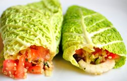 Raw food diet concept with cabbage wraps Royalty Free Stock Photos