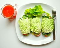 Detox diet with raw vegan rolls and red orange juice. Raw food diet concept with cabbage wraps filled with tomato , spinach and avocado and red orange juice royalty free stock photography