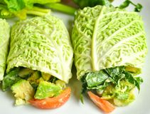 Raw food diet concept with fresh cabbage rolls. Raw food diet concept with cabbage wraps filled with tomato , spinach and avocado . vegan dish with fresh stock images