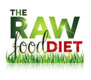 Raw food diet text with grass Stock Photography