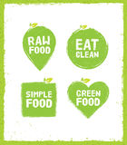 Raw Food Eat Clean Nutrition Detox Vector Concept. Eco Green Design Elements On Rust Background. Stock Photo
