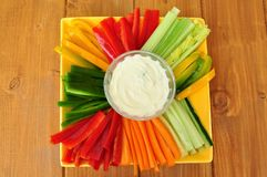 Raw food with fresh vegetables and dip Stock Photography