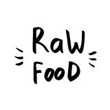 Raw food - hand drawn brush text badge, sticker, banner, poster Stock Photo