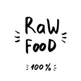 Raw Food - hand drawn brush text badge, sticker, banner, poster Royalty Free Stock Photo