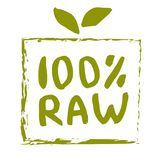 Raw food hand drawn isolated label. Raw food hand drawn label isolated illustration. Healthy diet and lifestyle vegan symbol. Raw hand sketch badge, icon. Logo Stock Image